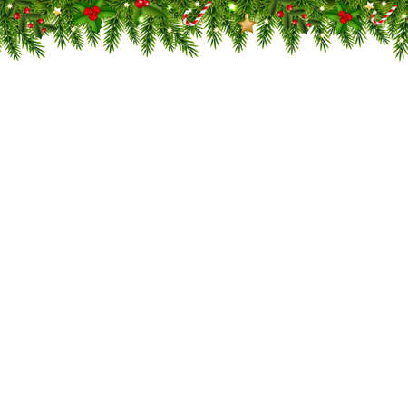 Christmas Garland Transparent White Background With Gradient Mesh, Vector Illustration Ilustracja