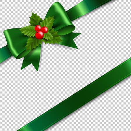 Green Bow With Holly Berry Transparent Background With Gradient Mesh, Vector Illustration