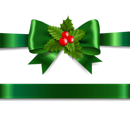 Green Ribbon Bow With Holly Berry White Background With Gradient Mesh, Vector Illustration