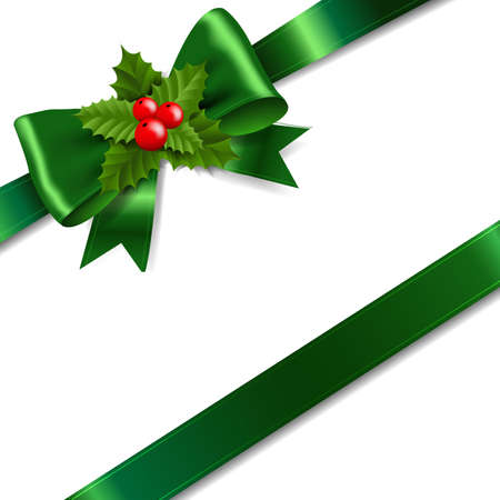Green Bow With Holly Berry White Background With Gradient Mesh, Vector Illustration