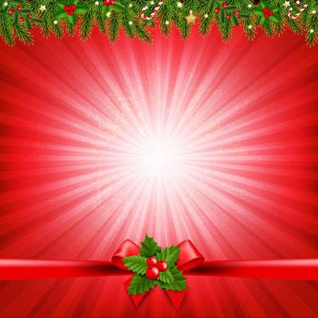Red Christmas Sunburst Poster With Gradient Mesh, Vector Illustration