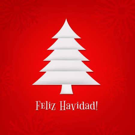 Christmas Card With Paper Fir-tree With Gradient Mesh, Vector Illustration