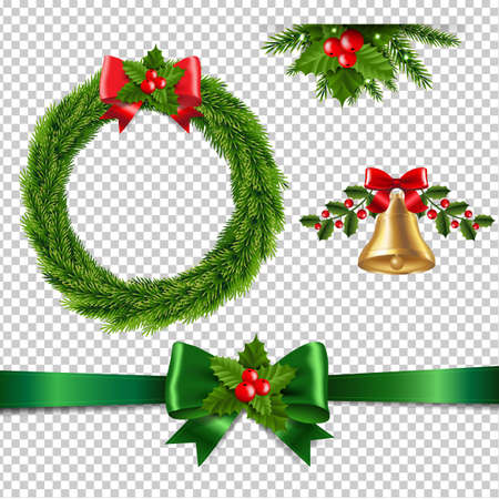 Christmas Set Isolated Transparent Background With Gradient Mesh, Vector Illustration Ilustracja