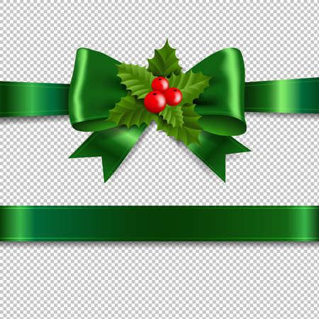 Green Ribbon Bow With Holly Berry Transparent Background With Gradient Mesh, Vector Illustration