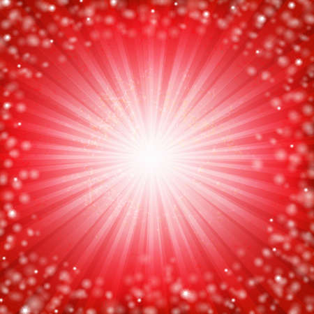 Red Sunburst Poster With Gradient Mesh, Vector Illustration