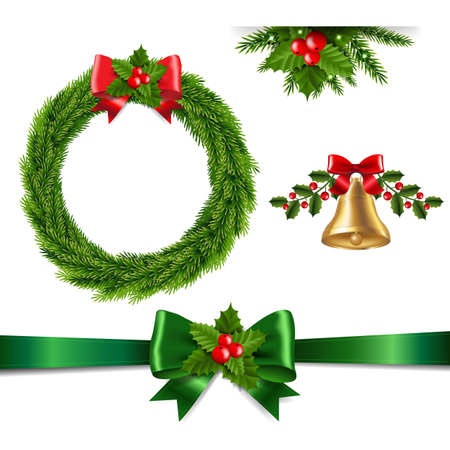 Christmas Set Isolated With Gradient Mesh, Vector Illustration