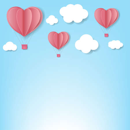 Paper Hearts With Cloud Blue Background With Gradient Mesh, Vector Illustration