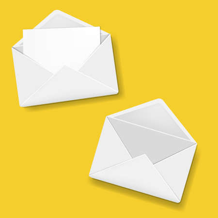 Envelope Collection Yellow Background With Gradient Mesh, Vector Illustration Ilustrace