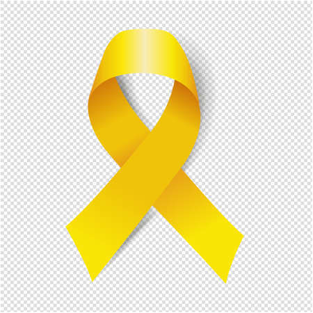 Yellow Ribbon Isolated Transparent Background With Gradient Mesh, Vector Illustration