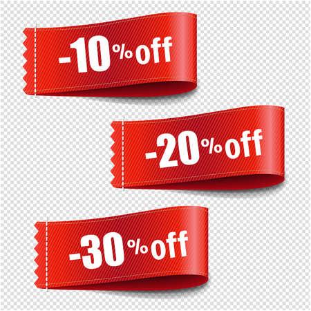 Sale Tags Set Transparent Background With Gradient Mesh, Vector Illustration Illustration