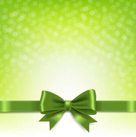 Green Bokeh Background With Bow With Gradient Mesh, Vector Illustration