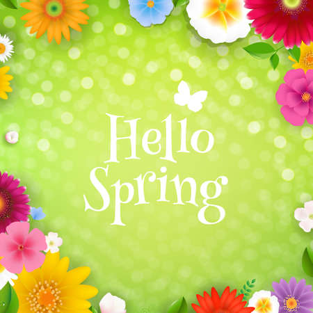 Hello Spring Poster With Gradient Mesh, Vector Illustration
