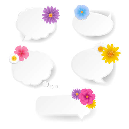 Speech Bubble Set With Flowers White Background With Gradient Mesh, Vector Illustration