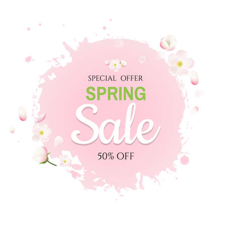Pink Stain With Flowers Sale Banner With Gradient Mesh, Vector Illustration