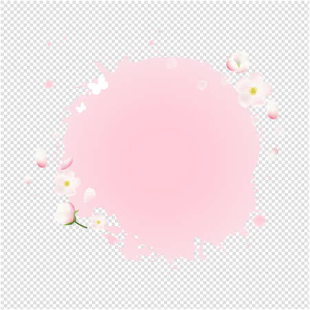 Pink Stain With Flowers Sale Banner Transparent Background With Gradient Mesh, Illustration