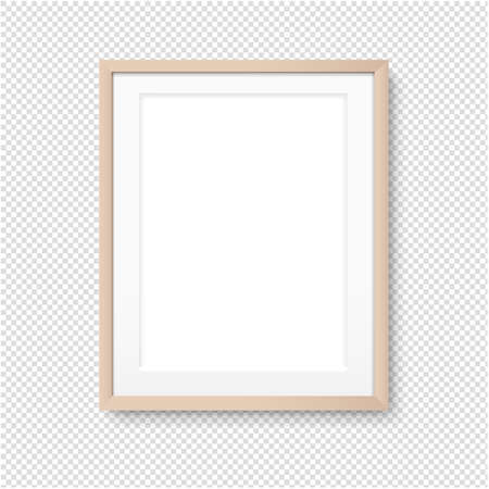 Wood Picture Frame Isolated Transparent Background With Gradient Mesh, Illustration Illustration