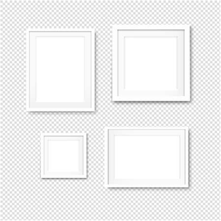 Picture Frame Set Isolated Transparent Background With Gradient Mesh, Illustration
