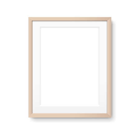 Wood Picture Frame Isolated With Gradient Mesh, Illustration