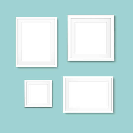 Picture Frame Set Isolated Mint Background With Gradient Mesh, Illustration Illustration