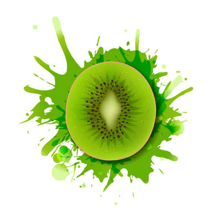 Kiwi Fruits With Paint With Gradient Mesh, Vector Illustration