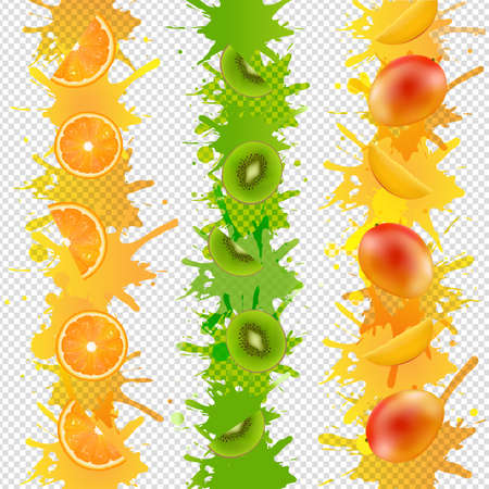 Fruits Border With Paint Isolated Transparent Background With Gradient Mesh, Illustration