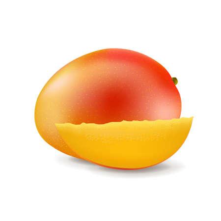Sweet Mango Isolated White Background With Gradient Mesh, Illustration Vektorgrafik