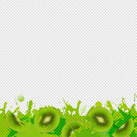 Kiwi Fruits Border With Blob Transparent Background With Gradient Mesh, Illustration Illustration