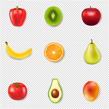 Fresh Fruits And Transparent Background With Gradient Mesh, Illustration Ilustracja