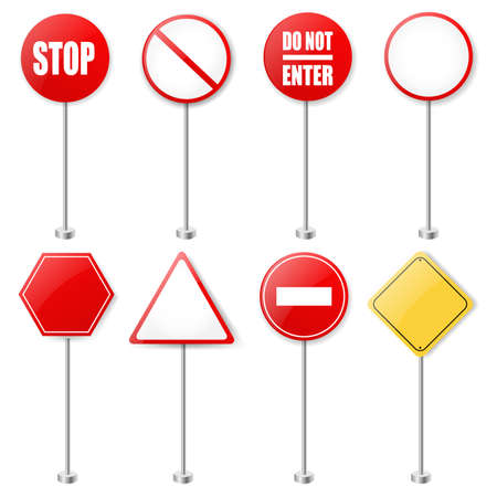 Stop Signs And Traffic Sign Collection With Gradient Mesh Illustration