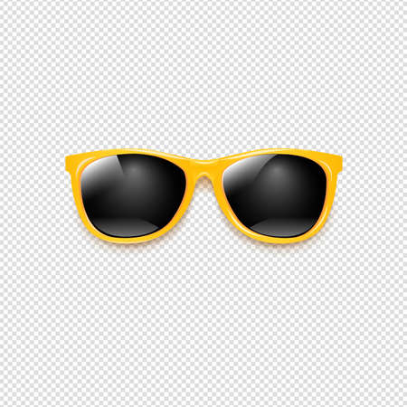 Yellow Sunglasses With Transparent Background With Gradient Mesh Illustration