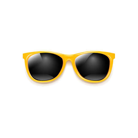 Yellow Sunglasses With White Background With Gradient Mesh Illustration Ilustracja