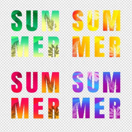 Summer Text Set Isolated Transparent Background Illustration
