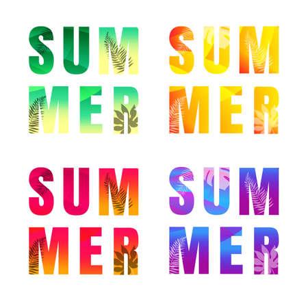 Summer Text Set Isolated White Background Illustration