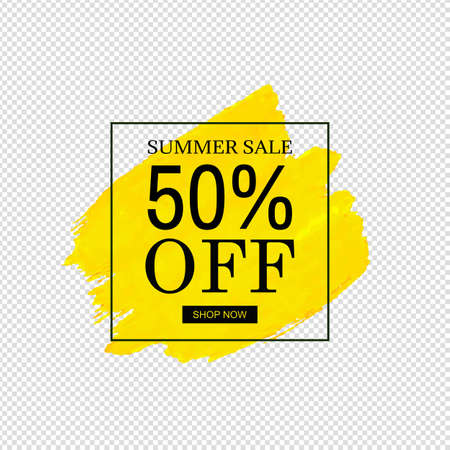 Sale Banner Yellow Blob Isolated Transparent Background Illustration
