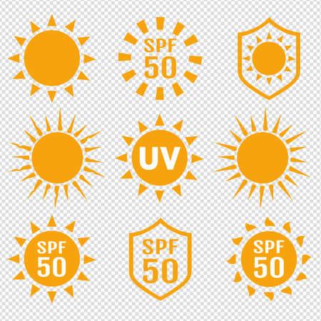 Set Of Sun Protection UV Index Transparent background 向量圖像