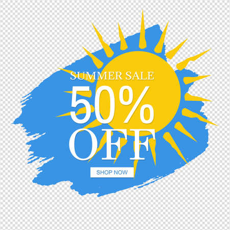 Sale Banner Yellow Sun Blob Isolated Transparent Background