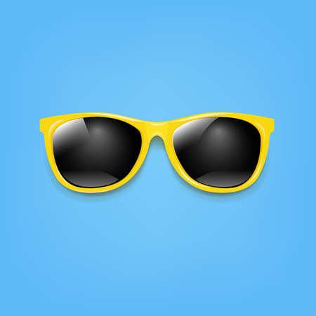 Banner gafas de sol y fondo azul con ilustración de malla de degradado Ilustración de vector