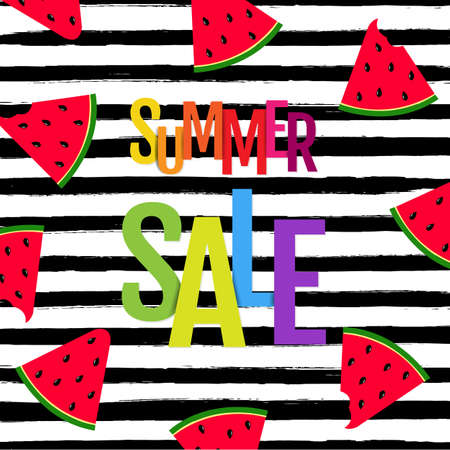 Color Summer Sale Poster With Watermelon And Text