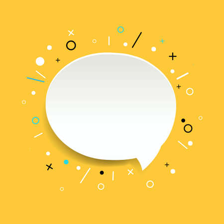 Speech Bubble Isolated Yellow Background With Gradient Mesh, Vector Illustration