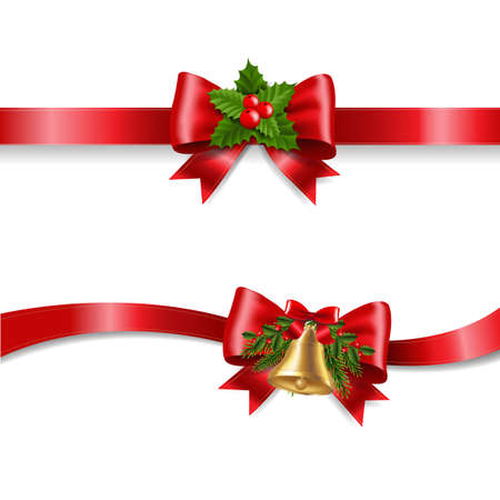 Christmas Red Bow And White Background With Gradient Mesh, Vector Illustration