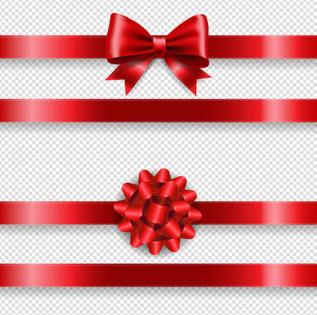 Silk Red Bow Set And Transparent Background With Gradient Mesh, Vector Illustration