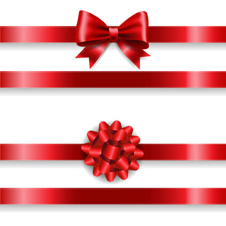 Silk Red Bow Set And white Background With Gradient Mesh, Vector Illustration