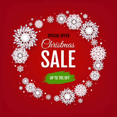 Christmas Sale With White Snowflakes With Gradient Mesh, Vector Illustration
