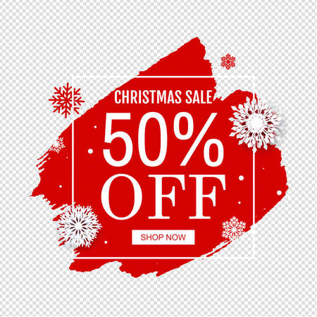 Christmas Sale Poster With Blobs Isolated Transparent Background Vector Illustration