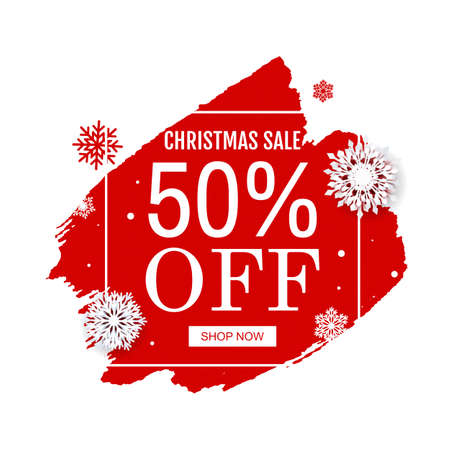 Christmas Sale Poster With Blobs Isolated White Background Vector Illustration