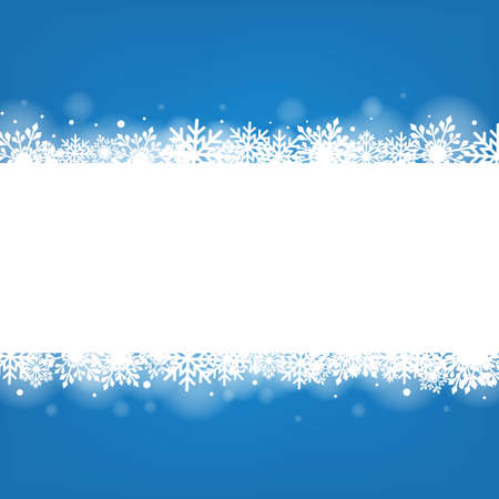 Blue Winter Banner With White Snowflakes With Gradient Mesh, Vector Illustration