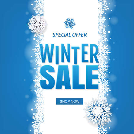 Sale Blue Winter Banner With White Snowflakes With Gradient Mesh, Vector Illustration Ilustracja