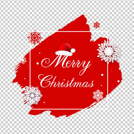 Merry Christmas Poster With Blobs Isolated Transparent Background , Vector Illustration Ilustracja