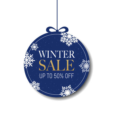 Winter Sale Label With Snowflake, Vector Illustration