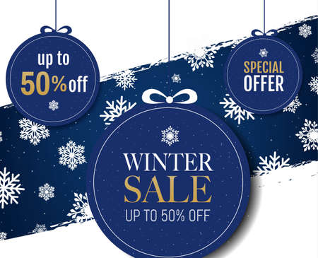 Winter Banner With Snow And Snowflakes With Gradient Mesh, Vector Illustration